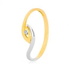 Inel din aur 375 - capete asimetrice îndoite ale braţelor, zirconiu strălucitor