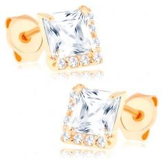 Cercei din aur de 14K - zirconiu transparent sub formă de pătrat, zirconii mici