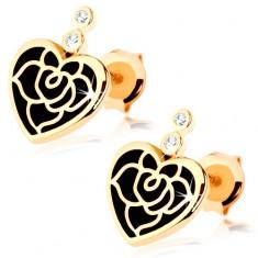 Cercei din aur galben 14K - inimă simetrică cu vopsea neagră, trandafir, zirconii
