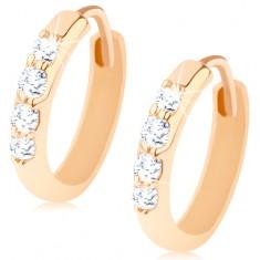 Cercei cu pivot, aur 14K, cercuri decorate cu o linie de zirconii transparente
