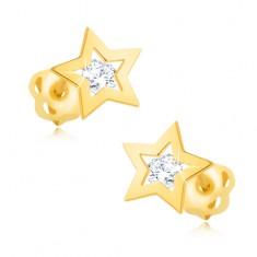 Cercei din aur 14K - contur lucios de stea, zirconiu transparent