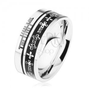 Inel Argintiu Din Oțel Fâșii Negre Simboluri Celtice Bijuterii Eshop