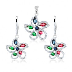 Set din argint 925, pandantiv și cercei, floare decorată cu zirconii colorate