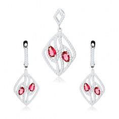 Set din argint 925, cercei și pandantiv, contur romb transparent, lacrimi roz