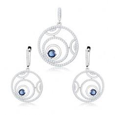 Set din argint 925 - pandantiv și cercei, contuturi cercuri, zirconiu rotund albastru