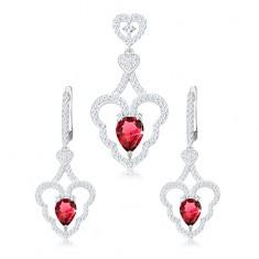 Set cu pandantiv și cercei, argint 925, contur inimă curbată, lacrimă roz