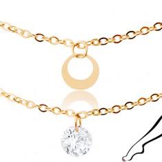 Lanț de picior din oțel inoxidabil auriu, zirconii transparente și cercuri conturate