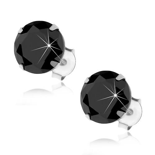 Bijuterii eshop - Cercei cu șurub din argint 925, zirconiu rotund negru în montură, 8 mm I27.17