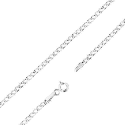 Bijuterii eshop - Lanț din aur alb 375 - placat cu rodiu, zale plate ovale, crestături fine, 450 mm GG98.11
