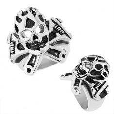Inel din oţel de culoare argintie, craniu convex patinat, cheie