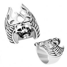 Inel din oţel în nuanţă argintie, patină neagră, craniu - coarne de cerb, aripi