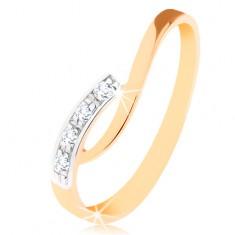 Inel realizat din aur de 9K - braţe curbate asimetrice, zirconii transparente