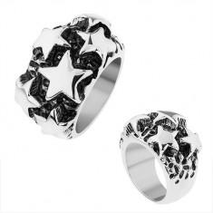 Inel din oţel, stele lucioase convexe în nuanţă argintie, patină neagră