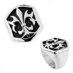 Inel din oțel în nuanță argintie, decorație hexagonală cu patină și Fleur de Lis