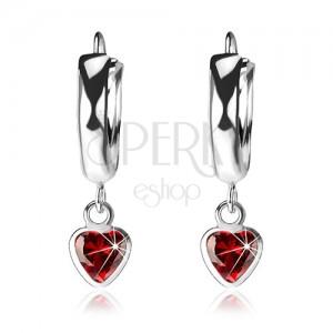 Cercei din argint 925, cerc lucios neted, inimă din zirconiu roșu