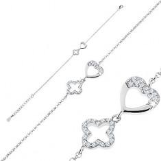 Brățară ajustabilă, argint 925, zale ovale, contur inimă și floare