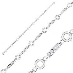 Brățară din argint 925, zale alungite cu zirconii transparente, cercuri