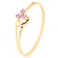 Inel din aur galben 14K - trei zirconii roz, inimă asimetrică convexă