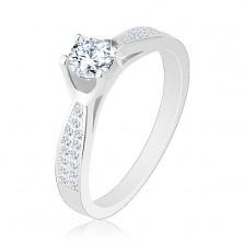 Inel din argint 925, braţe strălucitoare înguste, zirconiu rotund transparent
