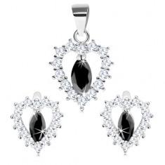 Set argint 925 - pandantiv şi cercei, contur transparent de inimă cu bob negru