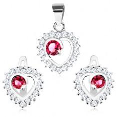 Set din argint - cercei şi pandantiv, contur transparent, zirconiu rotund roz