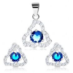 Set pandantiv şi cercei, argint 925, zirconiu albastru în contur de triunghi