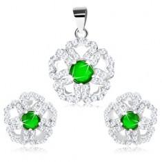 Set din argint 925 - pandantiv şi cercei, floare strălucitoare cu mijloc verde
