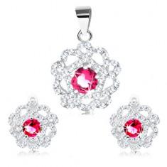 Set argint 925 - pandantiv şi cercei, floare transparentă cu mijloc roşu şi roz