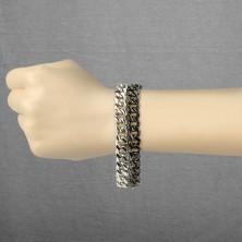 Brățară masivă din oțel - două lanțuri, culoare negru-argintiu