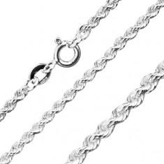 Lănțișor lucios din argint 925 - zale unite în spirală, 3 mm