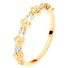 Inel de aur galben de 14K - trandafiri așezați alternativ și zirconii rotunde, transparente