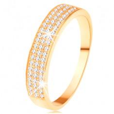 Inel de aur 585 - linie lată încrustată cu trei linii mai subțiri din zirconii transparente