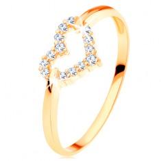 Inel din aur galben de 14K - contur inimă simetrică strălucitoare