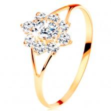 Inel de aur galben de 14K - zirconiu transparent în formă de floare, braţe despicate