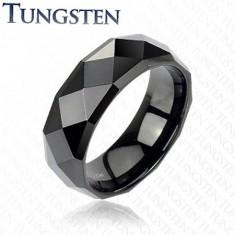 Inel negru din tungsten cu suprafaţă lucioasă, 8 mm