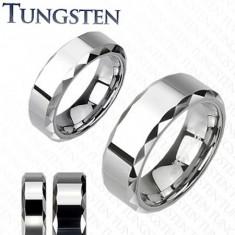 Inel din tungsten, nuanță argintie, laterale plate decupate, 6 mm