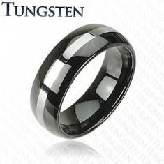 Inel negru din tungsten, linie de culoare argintie, suprafață rotunjită, 8 mm