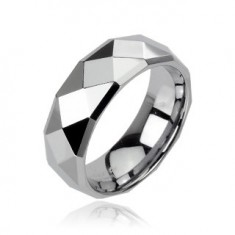 Inel din tungsten cu suprafaţă lucioasă de culoare argintie, 8 mm