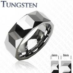 Inel din tungsten de culoare argintie, suprafaţă cu model geometric, 6 mm