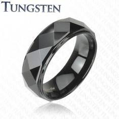 Inel din tungsten negru, linie proeminentă cu suprafaţă lucioasă, 8 mm