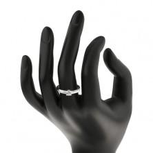 Inel din argint 925, zirconiu rotund, transparent, linii strălucitoare pe braţe