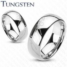 Inel din tungsten de culoare argintie, model Stăpânul Inelelor, 6 mm