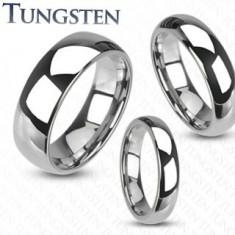 Inel din tungsten de culoare argintie, suprafață netedă, lucioasă, 6 mm