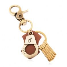 Breloc mat de culoare arămie, cătuşe cu simbol feminin şi un număr