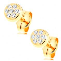 Cercei din aur galben de 14K - cerculeț încrustat cu zirconii transparente