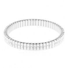 Brăţară elastică din oţel 316L de culoare argintie, zale înguste cu zirconii
