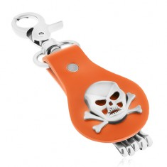 Breloc de chei realizat din oțel și piele maro, craniu cu oase încrucișate