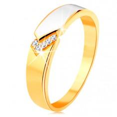 Inel din aur galben de 14K - bandă lucioasă cu email alb, zirconii transparente