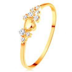 Inel din aur galben de 14K - zirconii micuțe transparente și inimă lucioasă proeminentă