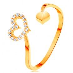 Inel din aur 585 - brațe curbate terminate într-un contur de inimă și o inimă plină